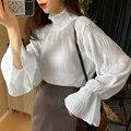 Уличная одежда, женская блузка с оборками, топы с расклешенными рукавами, шикарные модные белые пышные рубашки с высоким воротником, базова...
