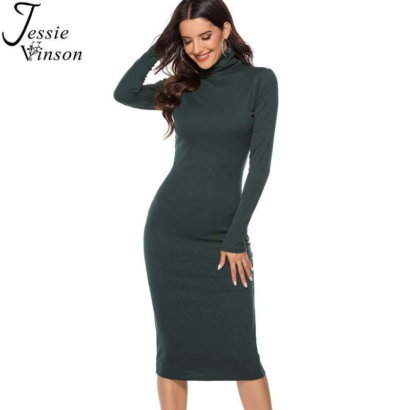 Jessie Vinson Plus Size Long Sleeve Turtleneck Knitted Rib Mid <font><b>Dress</b></font> Women Autumn Winter 4XL <font><b>5XL</b></font> Warm Sweater Bodycon <font><b>Dress</b></font> <font><b>Sexy</b></font> image