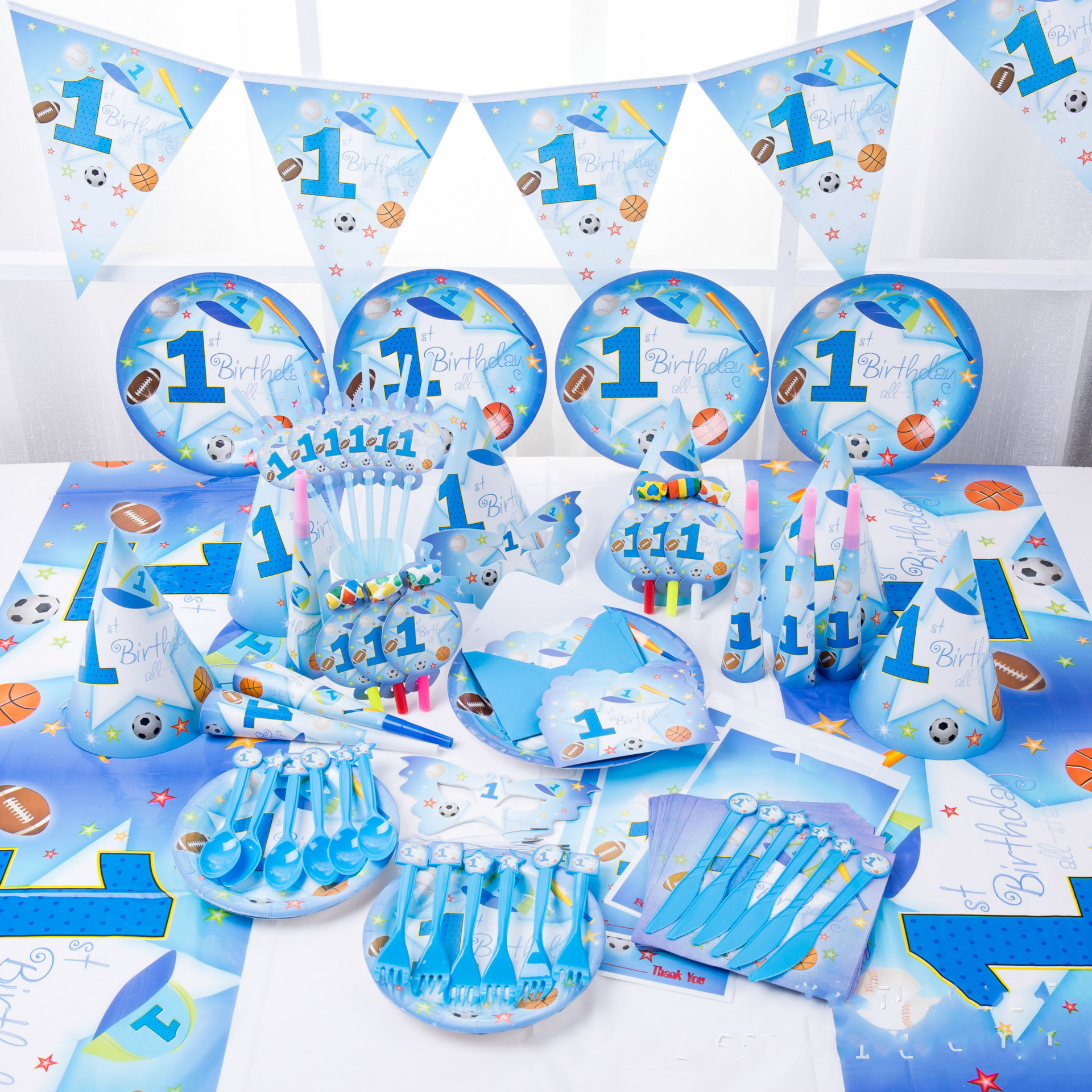 Baby Party Supplies Set 6 People Sports Boy Theme Birthday Party Supplies Set Baby Gift Child Kids Boys Party Supplies Set
