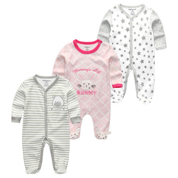 0-12Months Baby Rompers Newborn Girls&Boys 100%Cotton Clothes of Long Sheeve 1/2/3Piece Infant Clothing Pajamas Overalls Cheap - Baby Rompers RFL3122, 6M