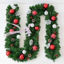 Get more info on the Christmas Wreath Artificial Hanging Rattan Garland With Bow Snowflake Christmas Ball Ornaments For Home Vianocne Dekoracie 2.7M