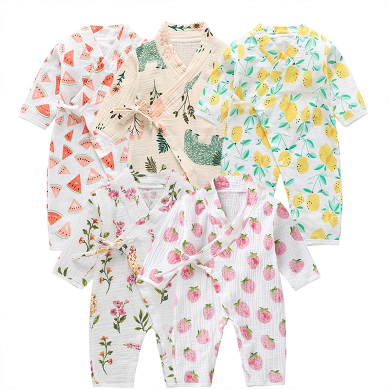 COSPOT Newborn Yarn Robe Kimono Jumpsuit Infantil Cartoon 100% Muslin Cotton Rompers Baby Boy Girl Clothes Sleepwear 2020 New 35