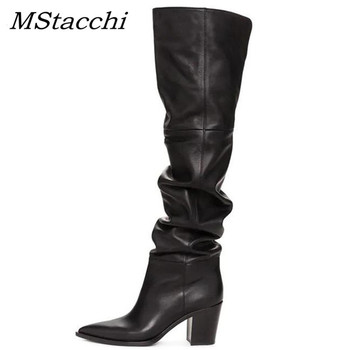 MStacchi Winter Pointed Toe Chunky Heels Zipper Knee High Boots Women Over The Knee Boots Brand Genuine Leather Party Shoe Woman