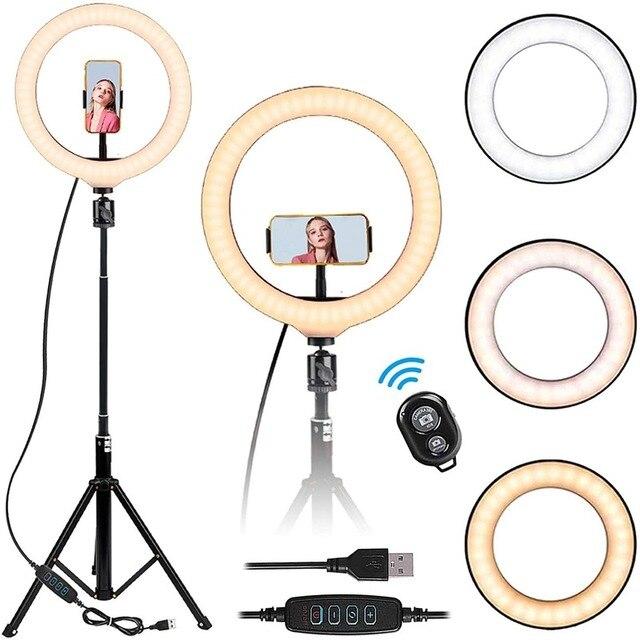 12 Selfie Vòng Ánh Sáng Với 160Cm Chân Đế Tripod Tik Tok Video Trực Tiếp Trang Điểm Chụp Ảnh Vlog 3 Màu chế Độ Plus Vòng LED Đèn