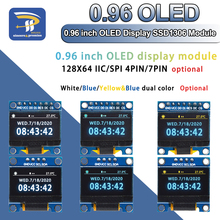 """4pin 7pin branco e azul cor 0.96 Polegada 128x64 amarelo azul oled módulo de tela para arduino 0.96 """"iic i2c spi comunicar"""