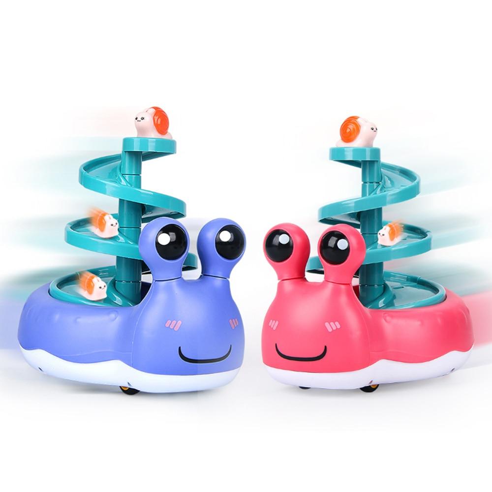 3Pcs Kids Mini Inertia Race Snail Car Sliding Toy Set Cartoon Running Snail Motor Vehical Baby Spiral Chute Toy Boys Girls Gifts