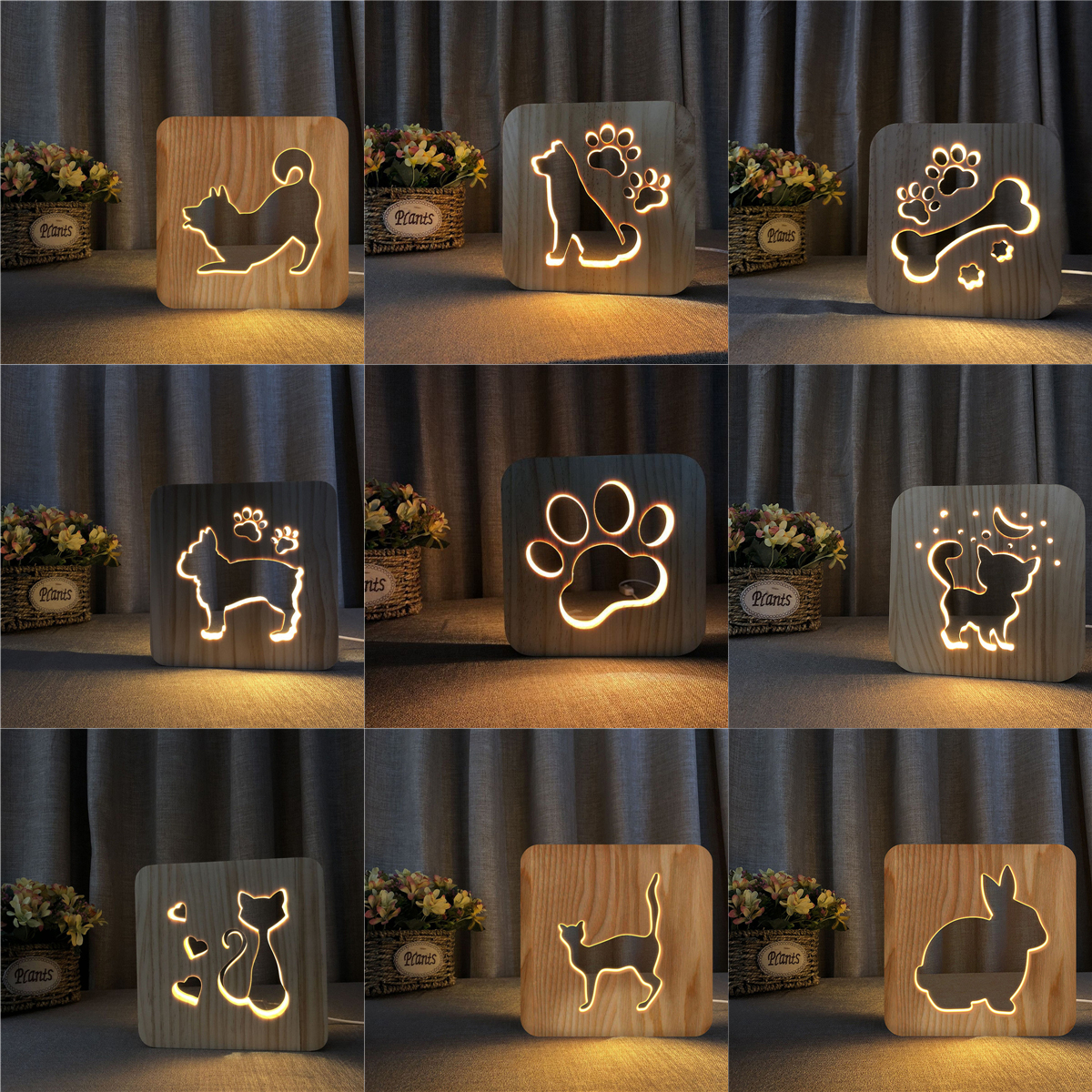 Firya LED USB Night Light Wooden Dog Paw Cat Wolf Head Animal Lamp Novelty Kids Bedroom 3D Decoration Table Lamp Children Gif