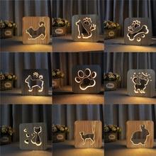 Firya LED USB Night Light Wooden Dog Paw Cat Wolf Head Animal Lamp Novelty Kids Bedroom