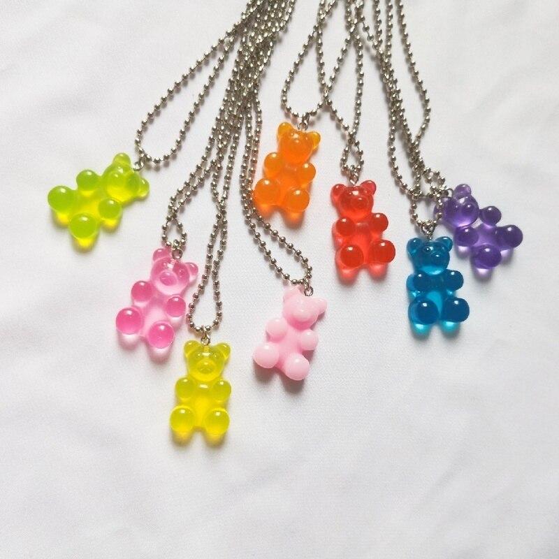 1pcs Handmade Urso De Aço Inoxidável Colar, colorful Candy Cor Animais Pingente de Resina Para As Mulheres & Menina Diário Presente da Festa de Jóias