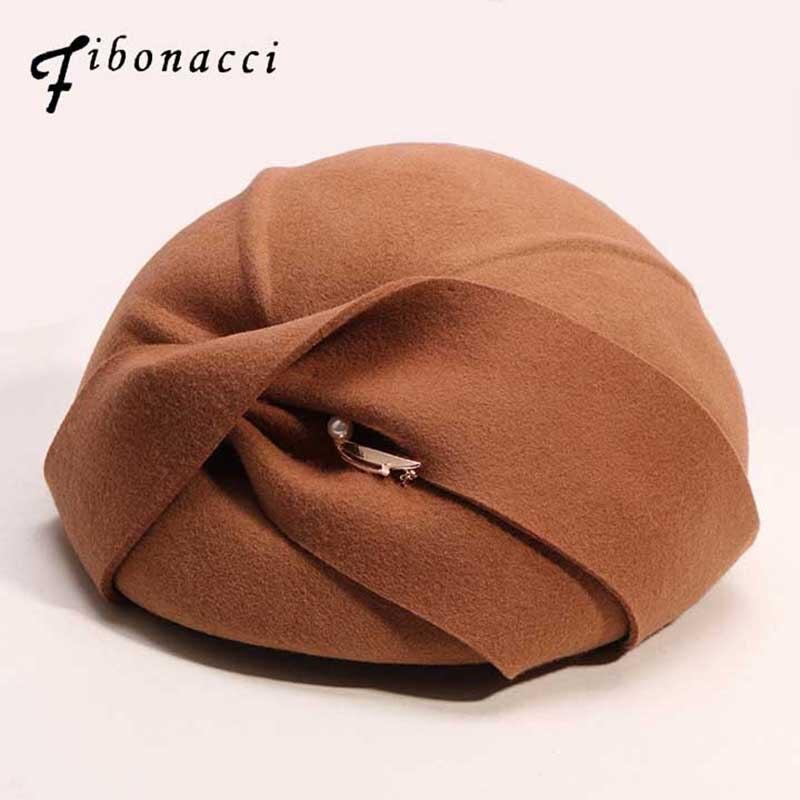 Женский шерстяной фетровый берет fibonci, винтажный фетровый берет с бантом, для осени и зимы, 2019|Женские фетровые шляпы|   | АлиЭкспресс