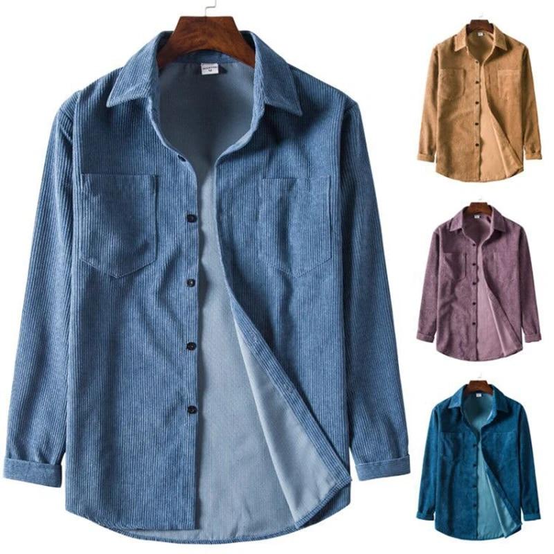 Men/'s Casual Shirt Long Sleeve Corduroy Shirts Top Blouse Spring Slim T Shirt