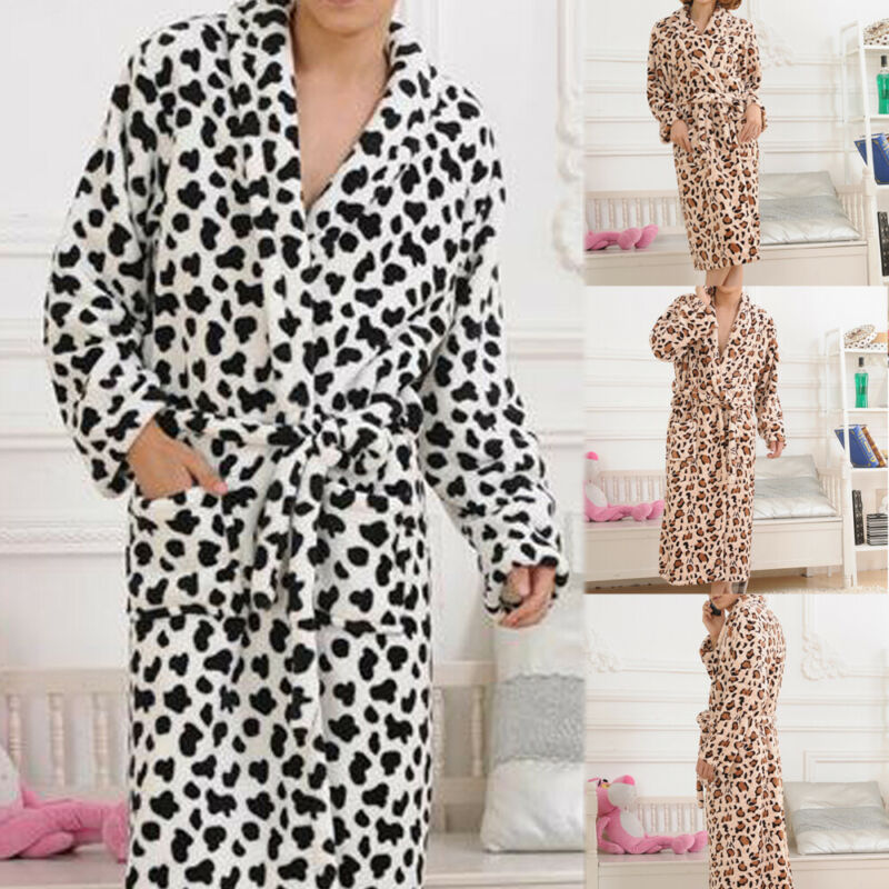 Unisex Men Women Fashion Flannel Leopard Print Long Robe Soft Bathrobe Towelling Bath Robe Dressing Gown Nightwear