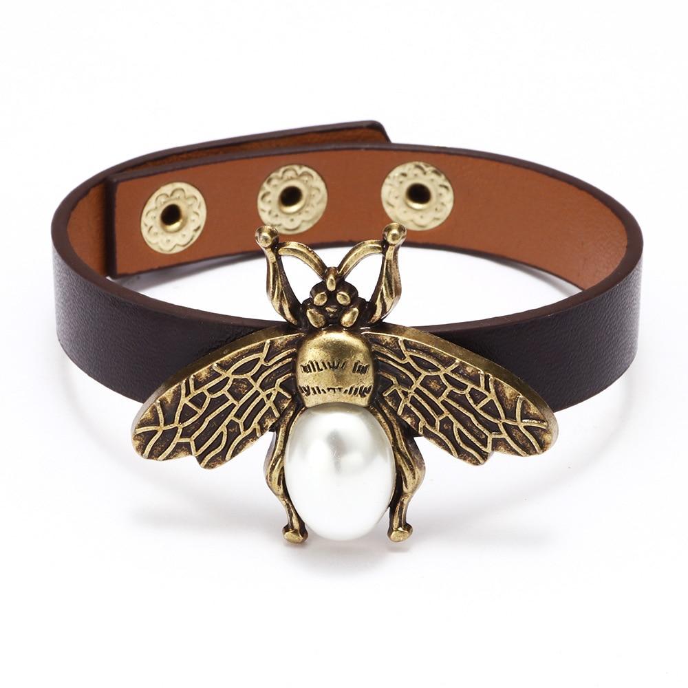 Kirykle-Bracelet d'abeille rétro en cuir de perles noires, Bracelet portefeuille rétro, Bracelets pour femme, cadeau pour filles 2