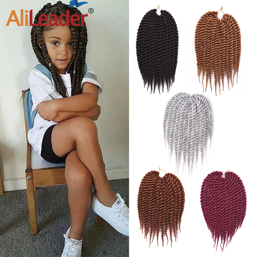 Alileader 22 Strands/Pcs Crochet Hair Havana Crochet Twist Hair Extension Soft Synthetic Crochet Braids For Kids 12 Inches