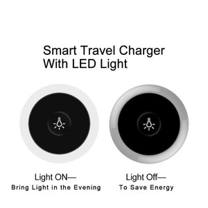 Image 2 - VOXLINK 5V2. 4A chargeur de voyage intelligent avec LED veilleuse double usb charge pour iPhone Samsung Xiaomi voyage chargeur universel