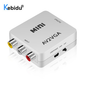 Image 3 - Sıcak 1080P Mini HD AV2VGA VGA2AV Video dönüştürücü ile 3.5mm ses VGA AV dönüştürücü AV için VGA converse RCA PC TV bilgisayar