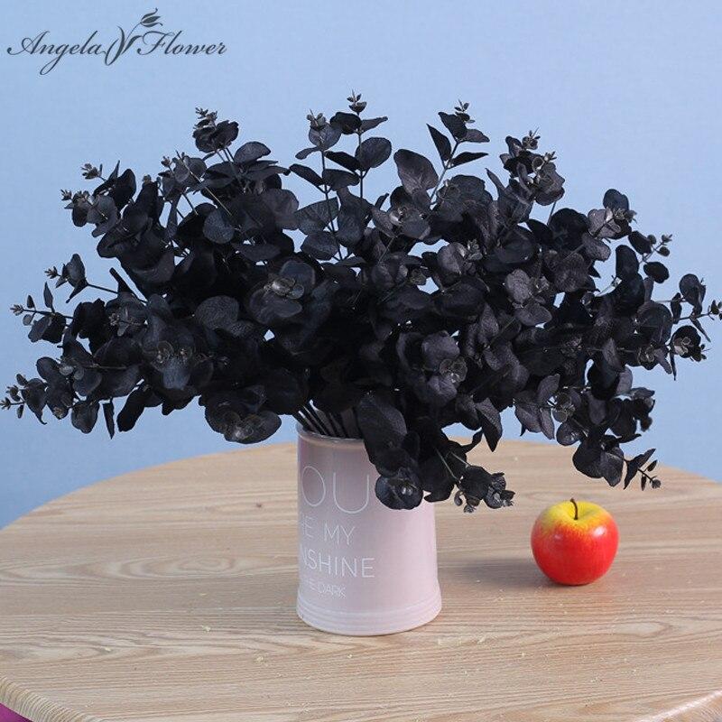 20 голов, 5 веток, черные, цветные искусственные листья эвкалипта, зеленые растения, Шелковый букет цветов, Свадебный, домашний, праздничный д...