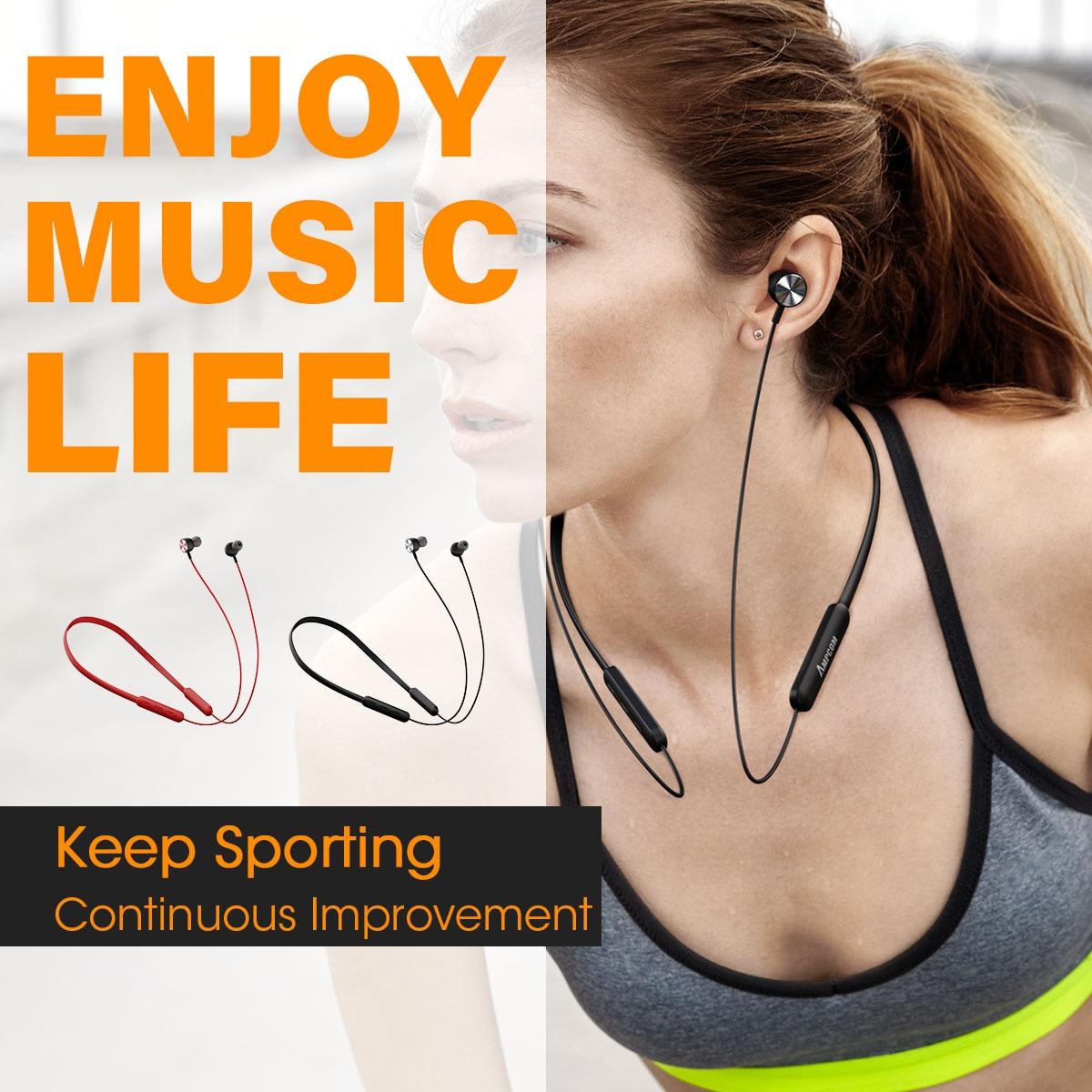 Купить с кэшбэком AMPCOM Bluetooth Earphone Sport Wireless Headphones IPX4 Waterproof  Earbuds Headset 8Hrs Music Time for iPhone xiaomi Huawei