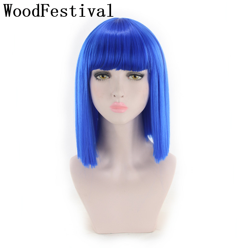 WoodFestival 11colors Women Synthetic Cosplay Wig Straight Blue Brown Black White Purple Red Green Pink Short Wigs With Bangs