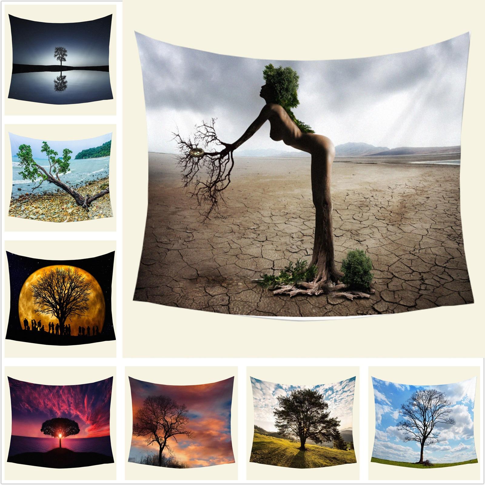 Художественный гобелен с изображением натурального пейзажа дерева, Большой Настенный Коврик для йоги, пляжный коврик, покрывало, скатерть