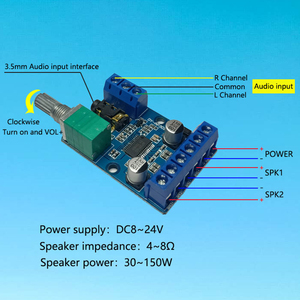 Image 4 - מגבר לוח ערוץ כפול סטריאו גבוהה כוח דיגיטלי אודיו 2*30W Amplificador DIY מודול 12 V  24V