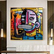 Joachim affiche d'art mural avec visage coloré, Graffiti abstrait, images pour décoration de salon ou de maison
