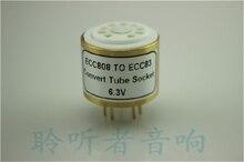 Gold plated socket ECC808 (TOP) to ECC83 6.3V tube conversion seat