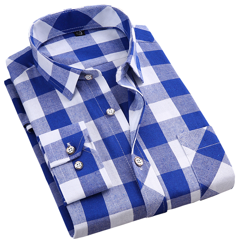 New long sleeve Thin mens casual plaid shirts fashion soft square collar business male leisure tops checkered shirts for men