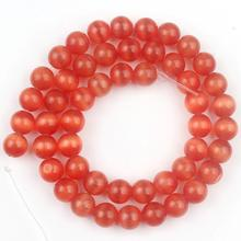 AAA Orange Red Cat Eye Beads Round Loose Rondelle Bead For Jewelry Making Natural Opal Stone Bead DIY Bracelet Accessorie 4-12mm