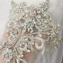 Аппликации со стразами и кристаллами, тюль с кристаллами, кружевной воротник с кружевной спинкой для свадебных платьев, пояс, свадебная нак...