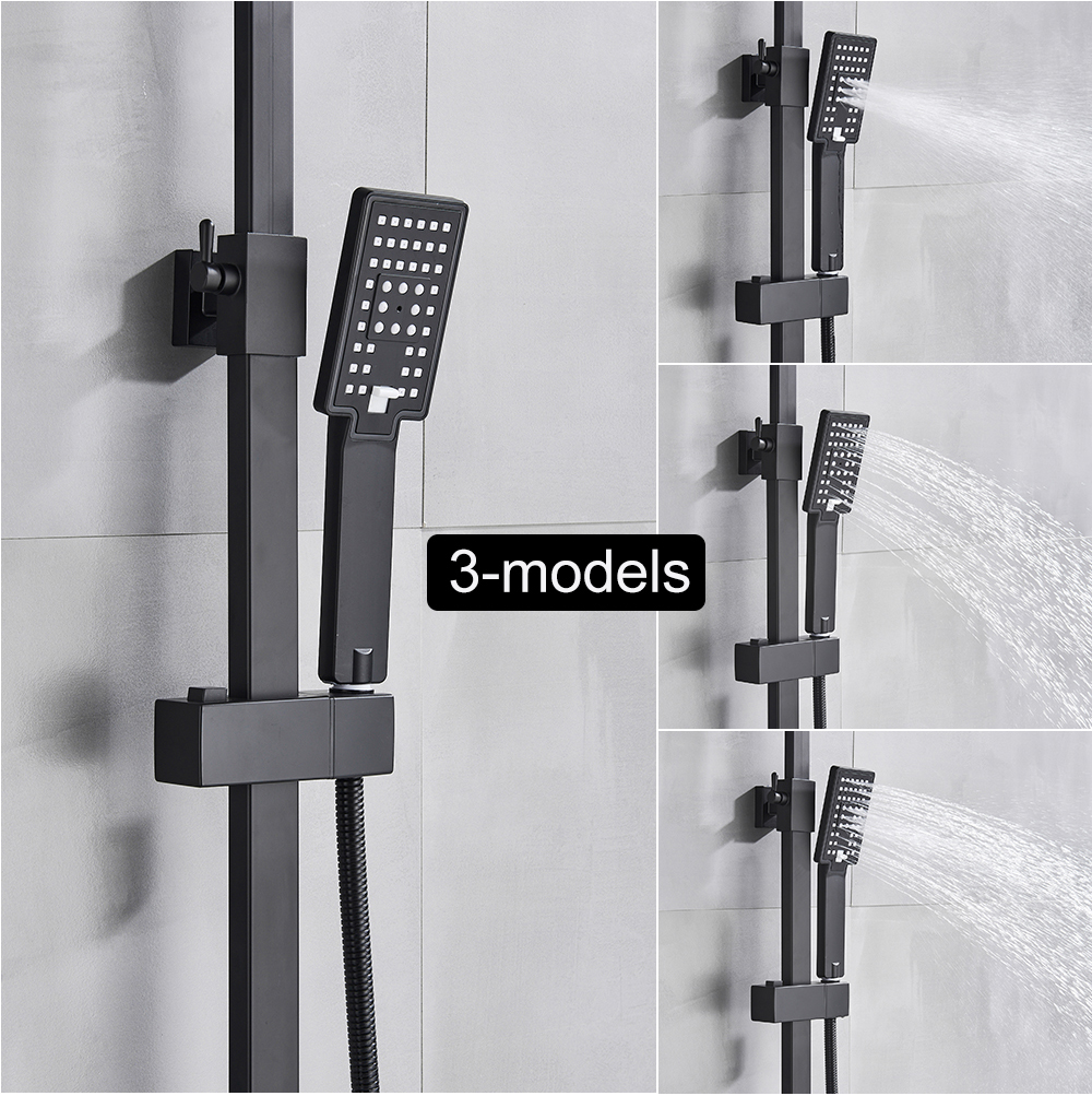 H548ae181bff843a5b1194d09946e3445T POIQIHY Black Bathroom Shower Faucet Set Wall Mount Black 8''Rainfall Shower Head With Handheld Sprayer Bathtub Shower Mixer