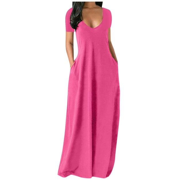Fashion Summer Maxi Dress Women's Printed Sundress Casual Short Sleeve Vestidos Female High Waist Robe Femme Plus Size 5XL 3