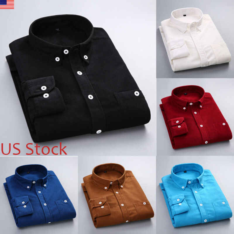 Herbst Winter Casual Männer Plain Cord Langarm-shirt drehen-unten Kragen Button Up Shirts Smart Casual Formale Top