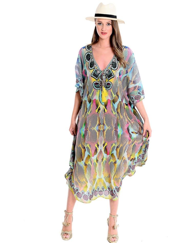 Europe And America Hot Selling V-neck Chiffon Colorful Snakeskin Printed Beach Skirt Loose And Plus-sized Robe-like Bikini Cover