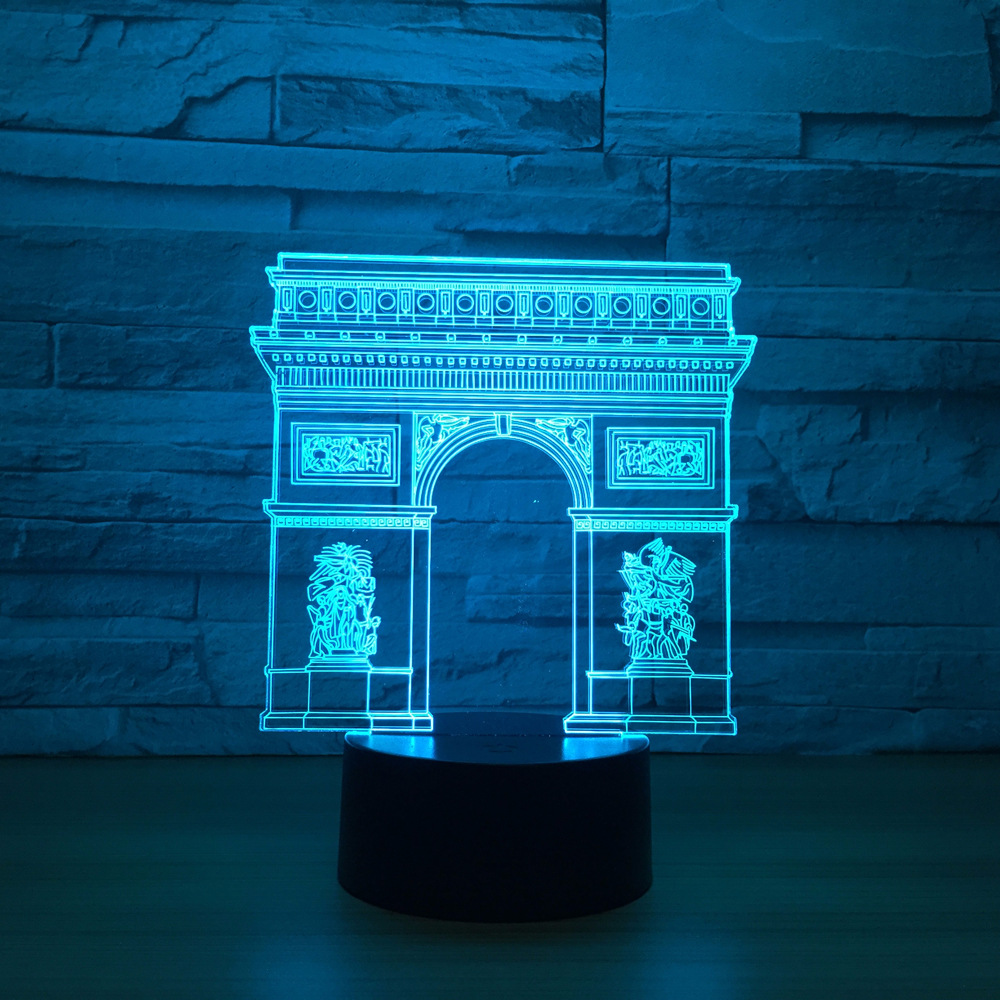 France Arc de Triomphe Gate Building LED 3D Night Light Led Colorful Nightlight RGB Lamp Sleeping Lighting Child Kids Toy Gifts