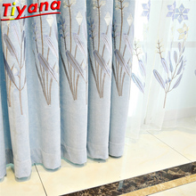 Luxury Plant Flower Embroidered Tulle Living Room Chenille light blue Curtains 70% Shading Window Drapes Voile WP426#40