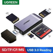 Ugreen usb 3.0 leitor de cartão sd micro sd tf cf ms compacto flash adaptador de cartão de memória inteligente para acessórios do portátil ao leitor de cartão sd
