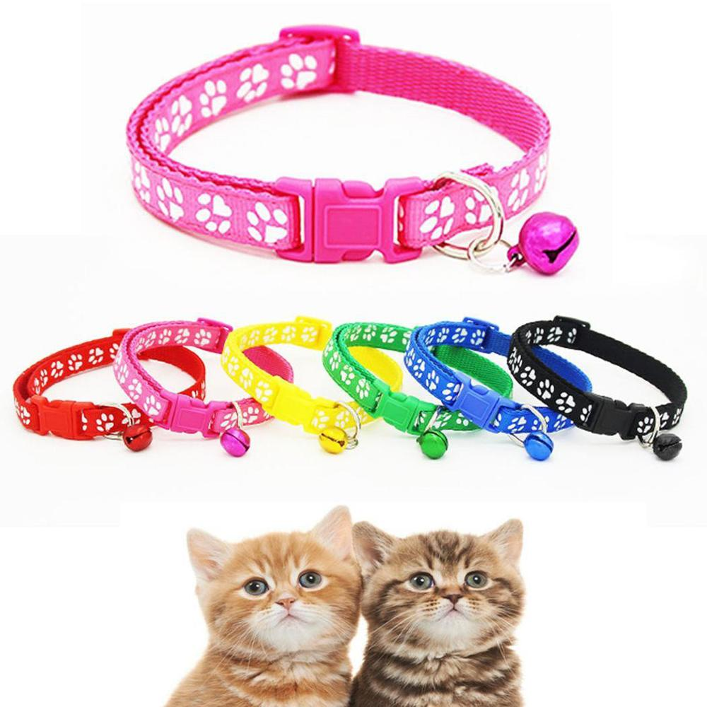 Collar for Pets fit Safety Adjustable Dog Leash collars different Bell Cat Footprint Pet Nylon with Collars strap