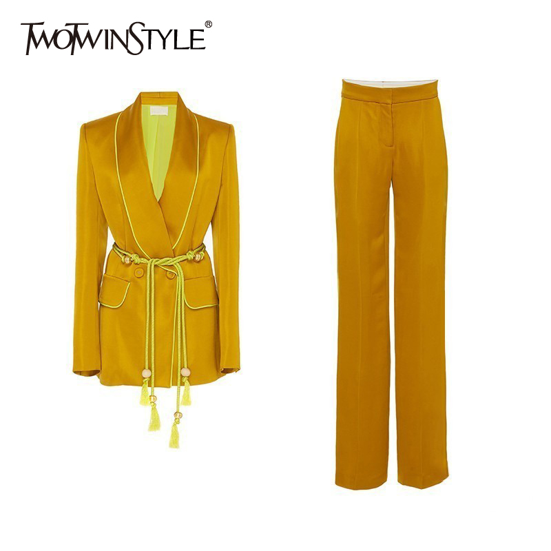 TWOTWINSTYLE Two Piece Sets Female Long Sleeve Lace Up Blazer Coat High Waist Long Wide Leg Trousers Women Fashion 2019 Autumn