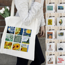 Van Gogh Shopping Bag Graphic Tote Harajuku Shopper Bag Women Canvas Shoulder Bag Female Ulzzang Funny Eco Large-capacity