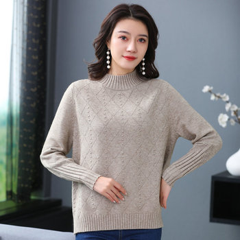 цена на Woman Wool Cashmere Knitting Pullover Pure Color Camel Pink Blue Red Soft Warm Knit Tops Crew Neck Design Textured Knitwear 2019