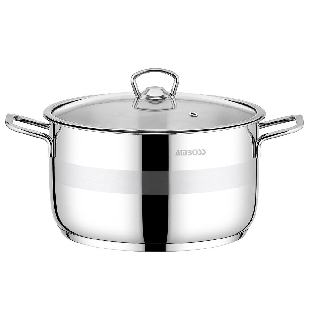 Amboss Saphire Deep Saucepan, Glass Capped,24 cm, Stainless Steel,2 years guaranteed, steel Capsule Base,For all oven types