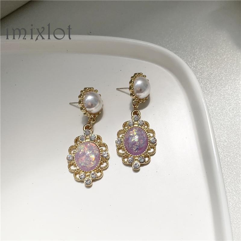 Fashion Crystal Pearl Long Earrings Classic Oval Tassel Earrings Vintage Simple Geometric Stud Earrings For Women Europe Jewelry