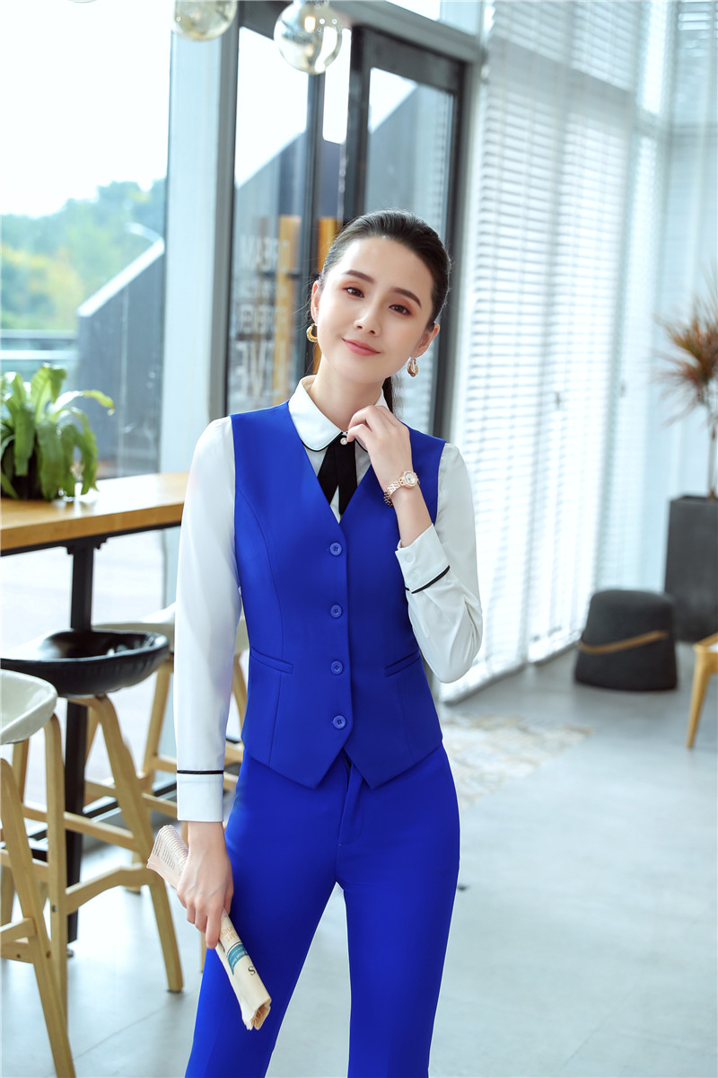 Formal Uniform Designs Women Business Suits With Vest Coat & Waistcoat And Pants For Ladies Professional Office Work Wear Set