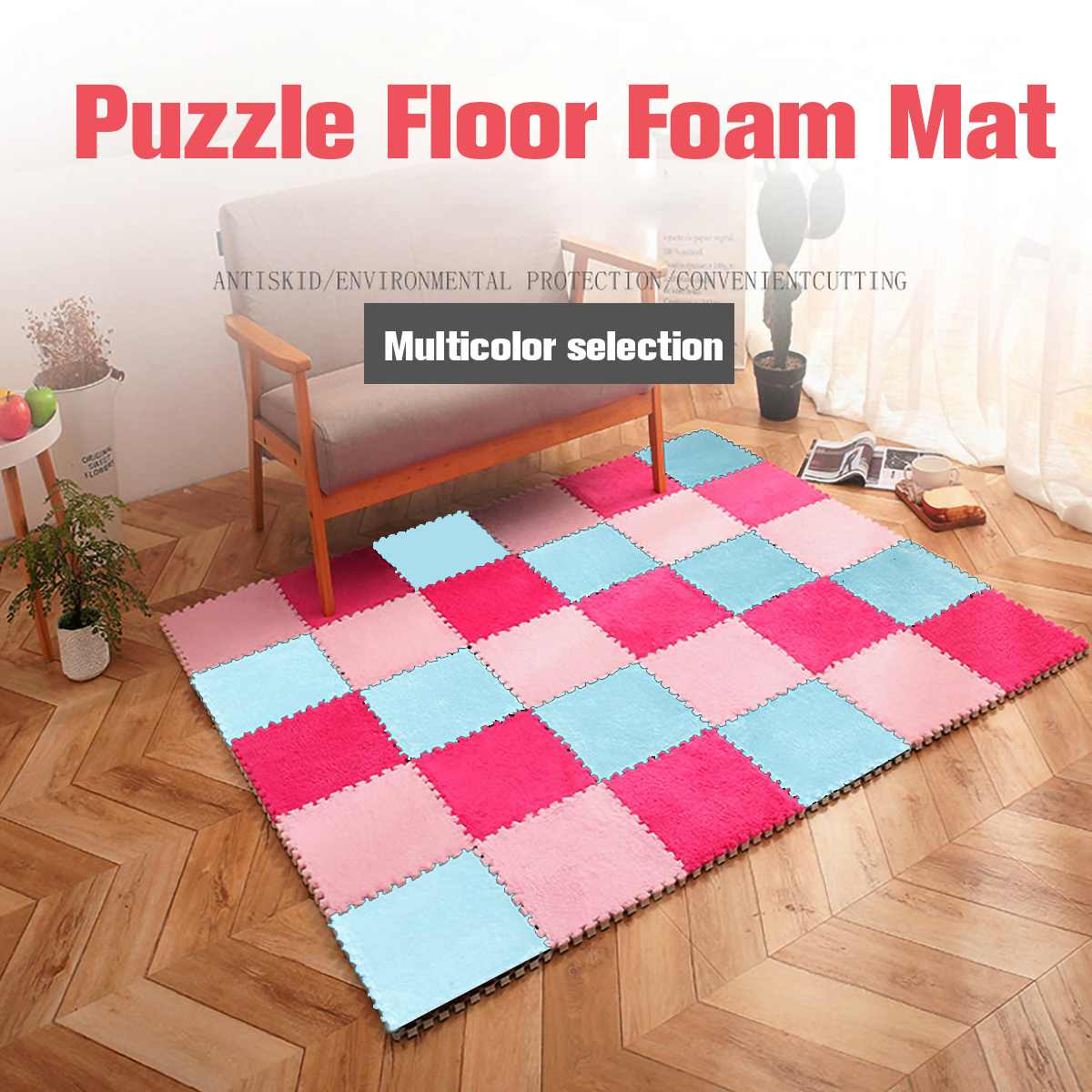 5Pcs/Set DIY Puzzle Baby Children Play Games Floor Mat Convenient Non-slip EVA Footcloth Carpet Shaggy Soft Area Rug 26x26cm