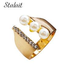 Натуральный три жемчужные кольца с Стразы украшением в виде