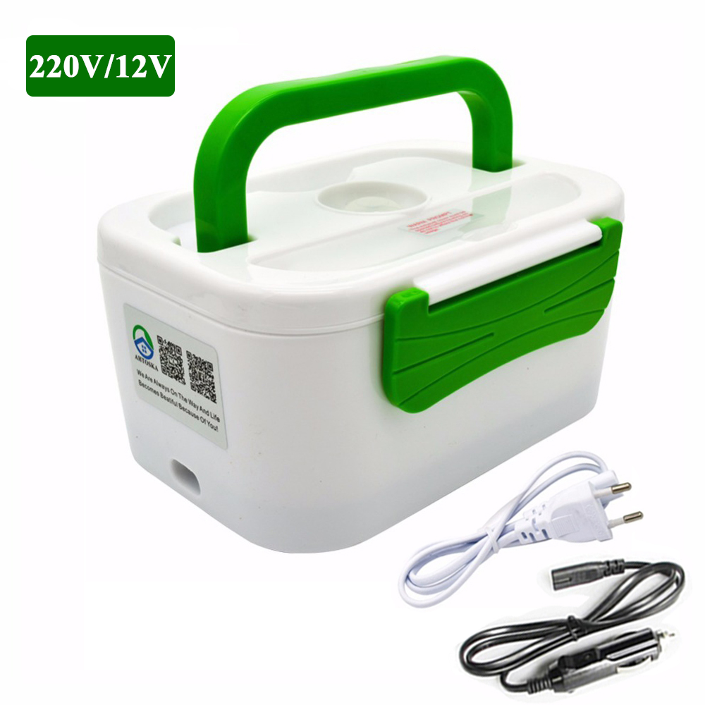 TENBROMAN Electric Heating Home & Car 12V 220V Plug-in Lunch Boxes Food Container Portable Dish Bento Box