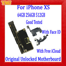 Para iphone xs placa-mãe com/sem face id 100% original desbloqueado placa lógica 64 gb 256 gb 512 gb limpo icloud mainboard(China)