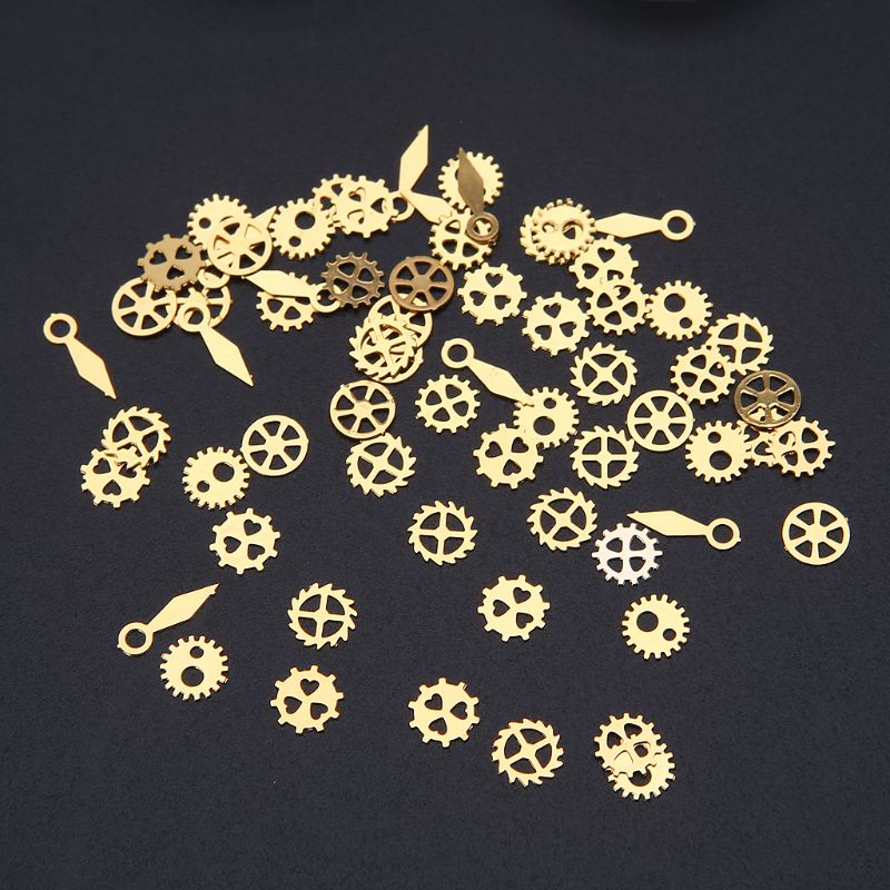 60Pcs/120Pcs/240Pcs Resin Jewelry Fillings Mixed Steampunk Cogs Gears Clock Hand Charm UV Frame Gear DIY Jewelry Making Tools