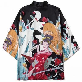 Haori Obi Asian Clothes Samurai Print Floral Black Men Kimono Gown Thin Harajuku Japanese Style Kimono Cardigan Oversized Blouse floral print loose fit kimono